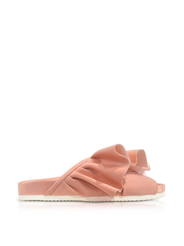 PINK SATIN RUFFLE SLIDE SANDALS