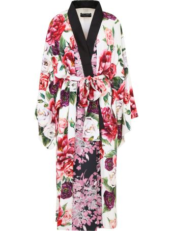 Peony Print Kimono Dress