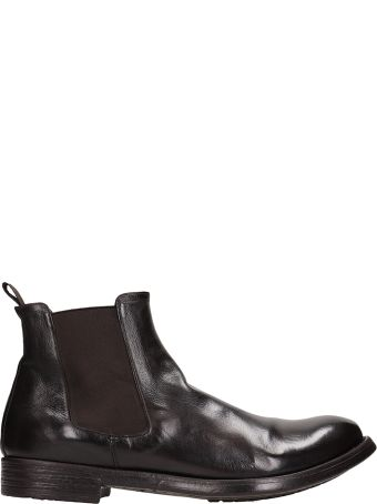Officine Creative Black Shiny Leather Hive 007 Ankle Boots