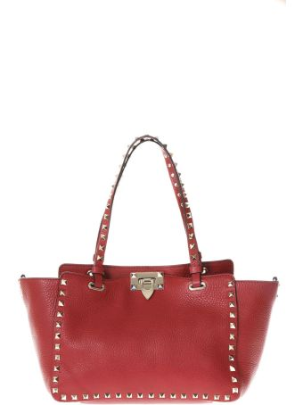 Valentino Garavani Rockstud Red Leather Tote