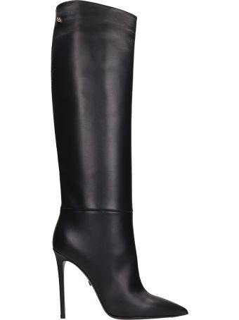 Grey Mer Black Calf Leather Boots