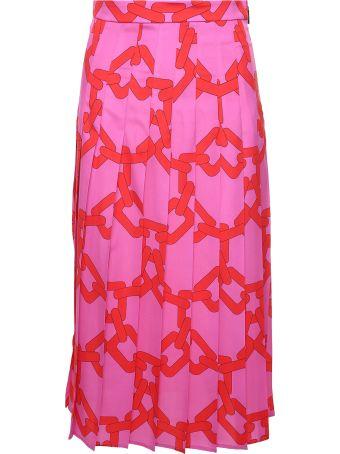 MSGM Chain-print Satin Pleated Midi Skirt