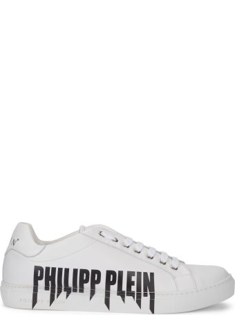 Philipp Plein Lo-top Rock Pp White Nappa Sneaker With Writing