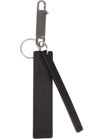 Rick Owens Black Leather Tag Keyring