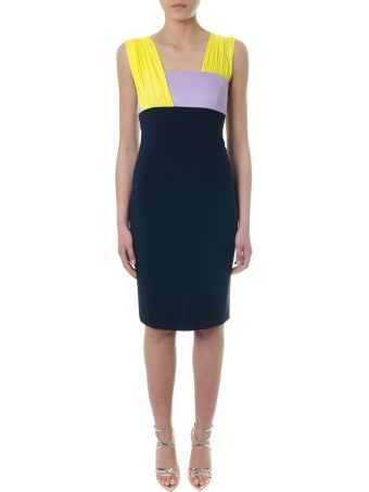 Versace Dress In Blue Crepe With Contrasting Details