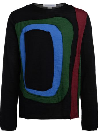 Comme des Garçons Shirt Black Sweater With Multicolor Inserts