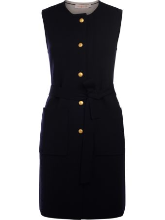 Tory Burch Valerie Blue Navy Gilet Dress