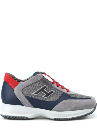 Hogan New Interactive H Flock Grey And Red Sneakers