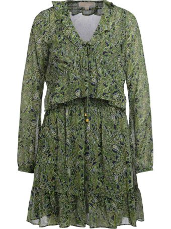 Michael Kors Green And Blue Georgette Dress