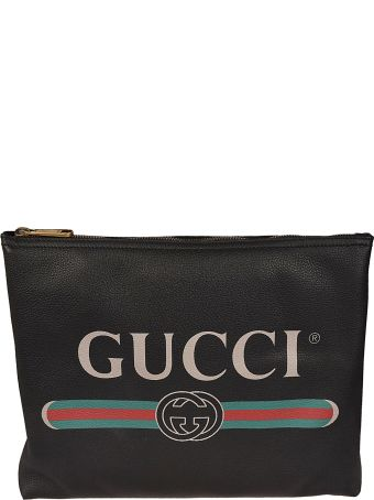 Gucci Logo Print Medium Clutch