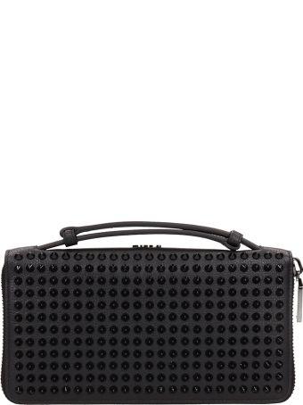 Christian Louboutin Black Leather Panettone Xl Clutch Bag