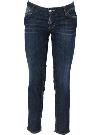 Dsquared2 Blue Cotton Done Deal Dark Cool Girl Cropped Jeans.