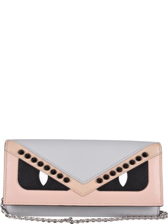 Fendi Monster Eyes Studs Chain Continental Wallet