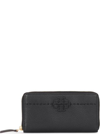 Tory Burch Mcgraw Black Tumbled Leather Wallet