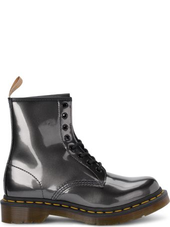 Dr. Martens 1460 Gunmetal Shiny Leather Ankle Boots