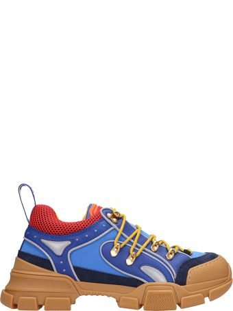 Gucci Flashtrek Blu Leather And Fabric Sneakers