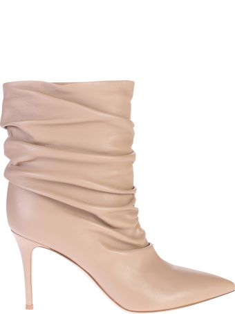 Gianvito Rossi Beige Ruched Ankle Boots