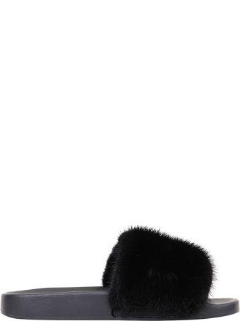 Givenchy Mink Trimmed Slides