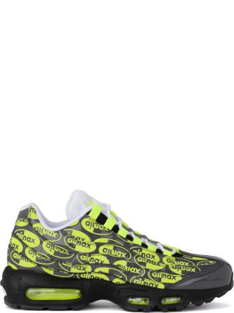 Nike Air Max 95 Grey Leather Sneaker With Fluo Print.