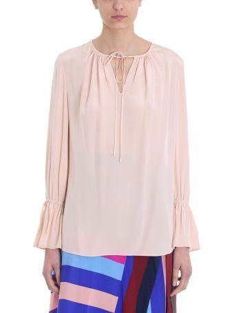 Diane Von Furstenberg Keyhole Pink Silk Crepe De Chine Blouse