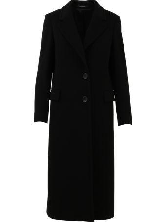 Tagliatore Long Black Cashmere Coat