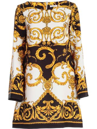 Parosh Dress L/s A Line Printed Baroque