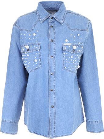 Denim Shirt With Pearls