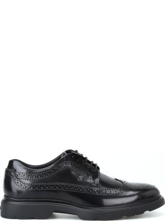 Hogan H393 Derby Brogue Black Lace-up Shoes