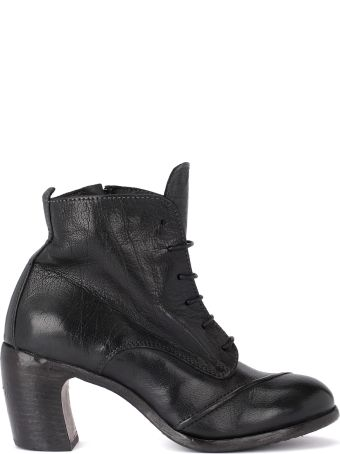 Moma Bufalo Black Leather Ankle Boots With Zip