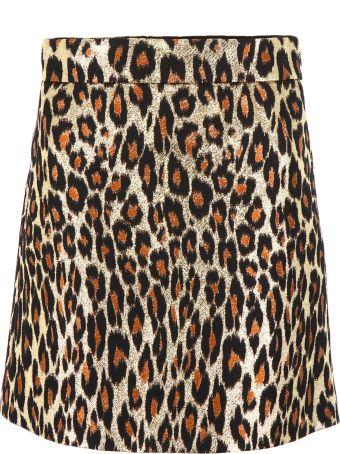 Miu Miu Brocade Leopard-printed Skirt