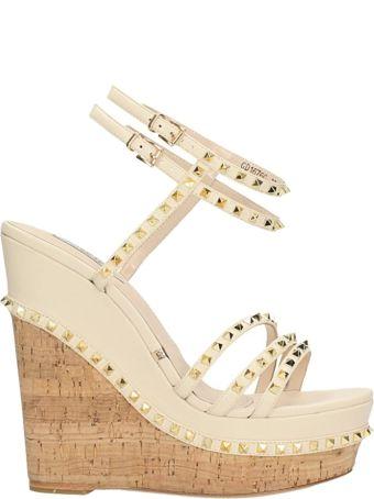 Gianni Renzi Beige Leather Wedge Sandals