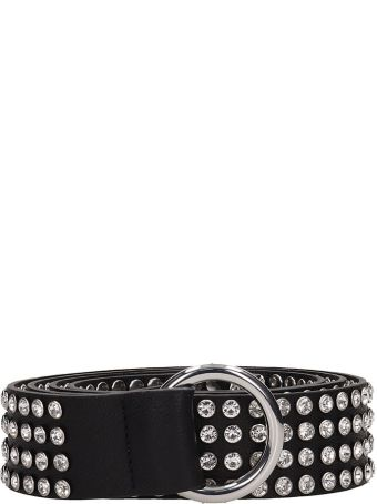 B-Low the Belt Mia Crystal Black Leather Belt