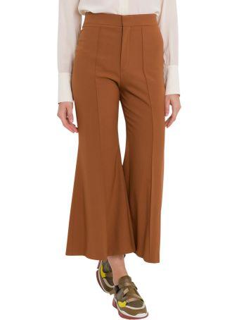Chloé Pantalone A Vita Alta Svasato Corto Stretch Wool