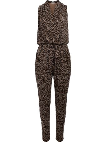 Michael Kors Black And Brown Spotted Pattern Sleeveless Overall