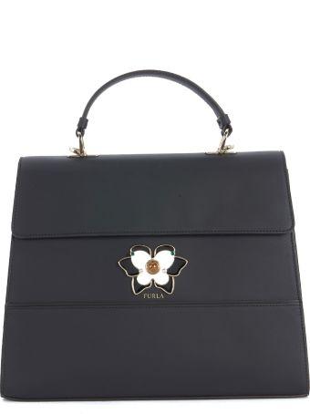 Furla Mughetto Black And White Leather Handbag