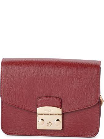 Furla Metropolis Red Cherry Leather Shoulder Bag