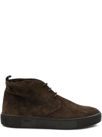 Tod's Short Ankle Boots In Brown Suede.