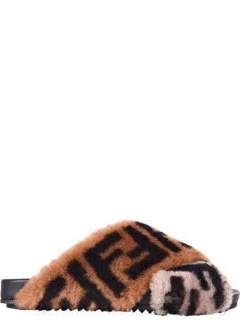 Fendi Logo Print Flat Sandals