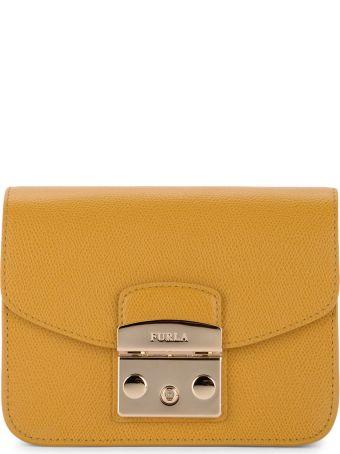 Furla Metropolis Mini Scotch Broom Yellow Calf Leather Shoulder Bag