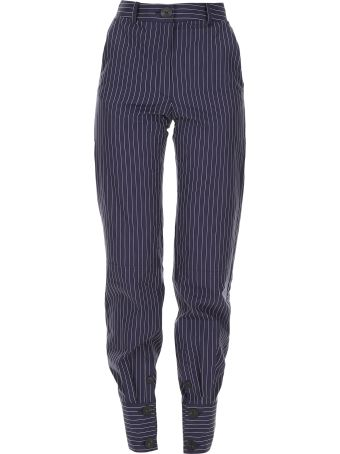 Pinstriped Cotton Trousers