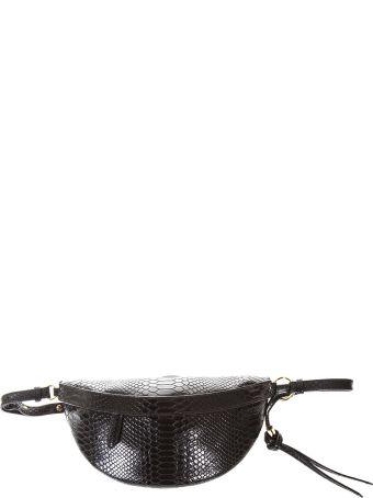 Stella McCartney Ella Black Snake Printed Faux Leather Belt Bag