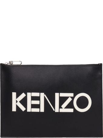 Kenzo Black Leather Clutch Bag