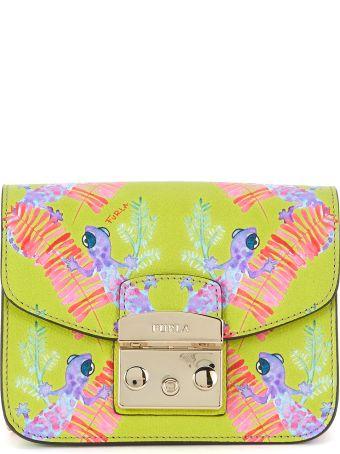 Furla Metropolis Mini Shoulder Bag In Acid Green Leather With Chameleons