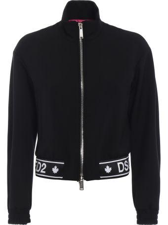 Dsquared2 Wool Blend Jacket With Logoed Hemline