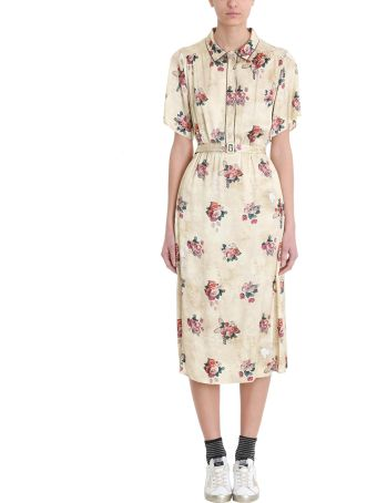Golden Goose Vanilla Belted Floral-print Satin Midi Dress