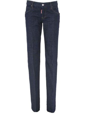 Dsquared2 Blue Cotton Medium Waist Lauren Jeans.