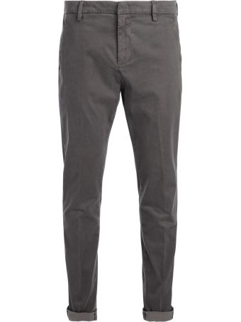 Dondup Gaubert Chino Cut Grey Washed Trousers With Microdots.