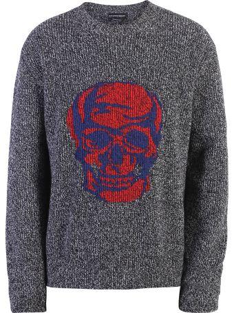 Alexander McQueen Grey Skull Print Sweater