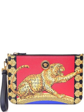 Versace Icon Signature Pillow Talk-print Leather Clutch