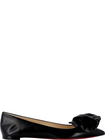 Christian Louboutin Black Leather Flat Shoes